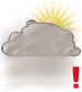 Mostly cloudy with moderate fog