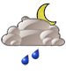 Mostly cloudy with moderate rain