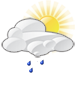 Partly cloudy with showers likely