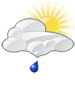 Partly cloudy with moderate rain